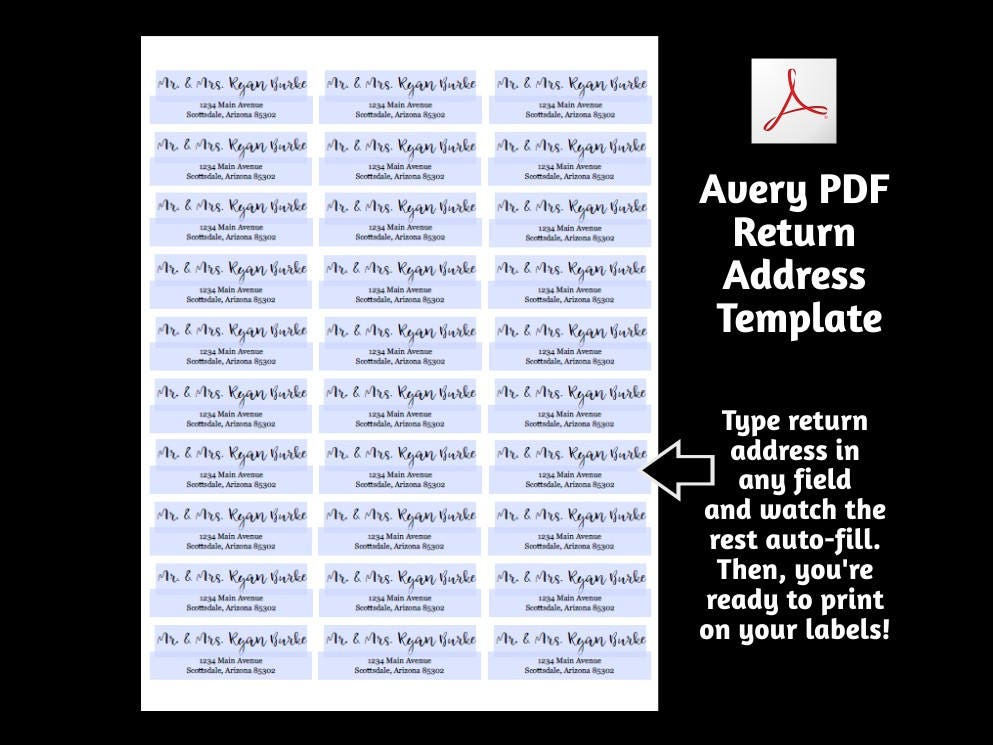 Printable Address Template For Envelope Labels Avery 2 X 4 1 X 2