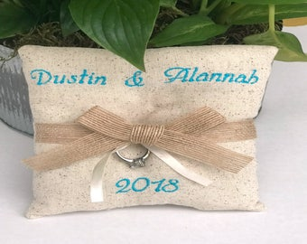 Rustic Ring Bearer Pillow - Personalized Wedding Ring Pillow - Personalized Ring Bearer Pillow - Rustic Wedding - Ring Bearer Pillow