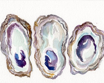 Oyster Shells Watercolor Painting Original 5 x 7 oyster watercolor, oyster art, oyster painting, watercolor oysters wabi-sabi, Not a print