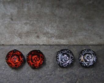 Red or Silver Threaded Dark Gray Stud Earrings!