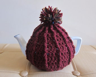 Pom Cozy for Teapot, Crocheted Teapot Cozies, Cozies for Teapot, Crocheted Teapot Warmer, Crochet Tea Cozy, Teapot Warmer, Red Teapot Cozy
