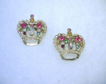 Vintage 1950s Crown Scatter Pin Pair - Rhinestones and Faux Pearls