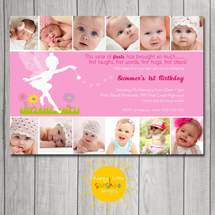 Girl Birthday Invitation Personalised Printable Any Age 1st