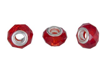 Bag of 3 charms glass donut rondelle beads red faceted translucent 14x9mm - free shipping