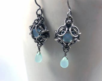 OOAK Phaedra Earrings Oxidized Sterling Silver with Aqua Chalcedony Chainmaille