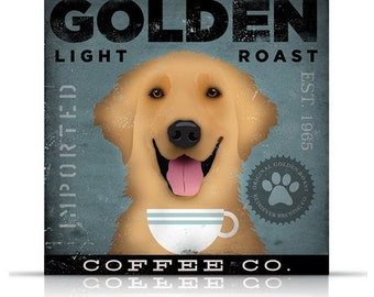Golden Retriever Coffee Company original graphic illustration on gallery wrapped canvas by Stephen Fowler