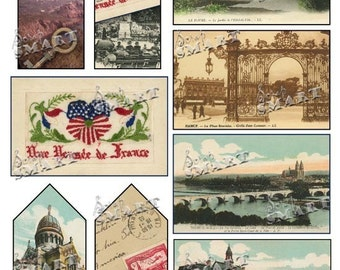 France - 9 Postcards and Tags with Stamps, Castles, Maps etc. from 1900's on a Digital Collage Sheet Download - AFRNT1