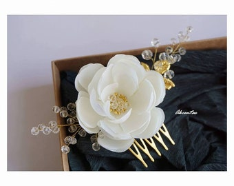 Ivory Hair Clip - Ivory Bridal Hair Comb - Ivory Wedding Hair Piece - Ivory Flower Comb - Ivory Floral Hairpiece - Ivory Bridal Headpiece