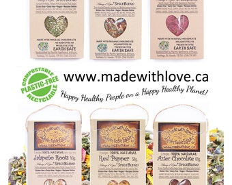 Six Artisan Spice Blends - Made with Love - Organic Herb Spice Blend - DIY Pasta Sauce Mix - Dip Mix - BBQ Grill Rub - Salad Mix - Real Food