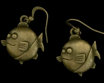 Antique Bronze Smiling Piranha Earrings, Fish Earrings, Sea Life Earrings, Nautical Earrings