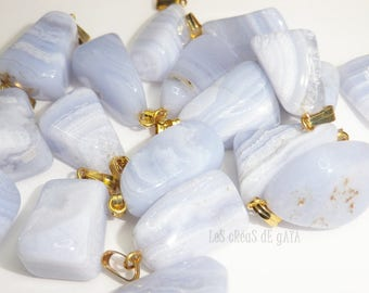 1 x chalcedony, blue natural stone, two fixtures to choose