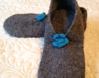 Heathered Grey Felted Wool Slipper Womens Size 7/8