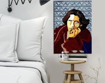 "Portrait ""Oscar"" Tribute To Oscar Wilde - FRAMED ART, Literature, iconArt, Poem, Personalized Gift, Book Lover, Gift For Women, For Men"