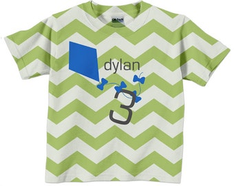 Kite Shirt, Personalized Girls Chevron Birthday Number Tshirt
