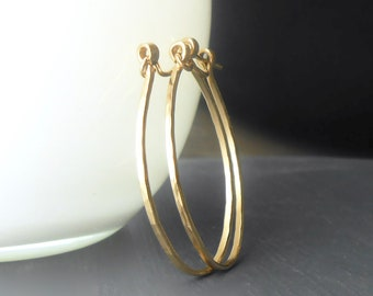Oval Gold Hoop Earrings, Hammered Gold Filled Hoops