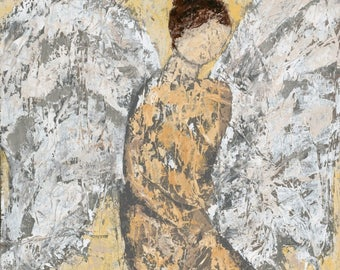 Angel, painting, abstract art,  canvas print, Thoughtful Angel