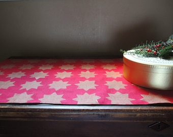 Crimson red and metallic gold eastern star linen table runner hand block printed Christmas holiday home decor