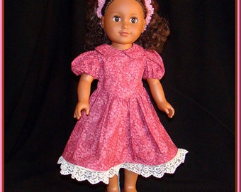 "Elegant Dusty Pink Print Dress w Exquisite Ivory Lace on Hem of Outfit; for American Girl Style 18"" Dolls! School or Dress Up Doll Clothes"