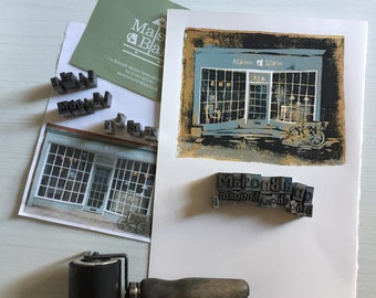 Bespoke Shop Illustration: Original Linoprint and Digital File