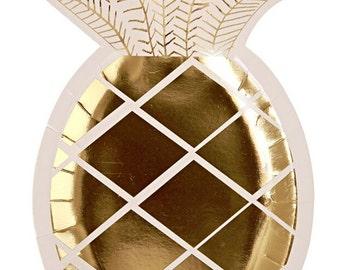 "Gold Metallic Pineapple Paper Plate 9 3/4"" X 5 3/4""- pkg8"