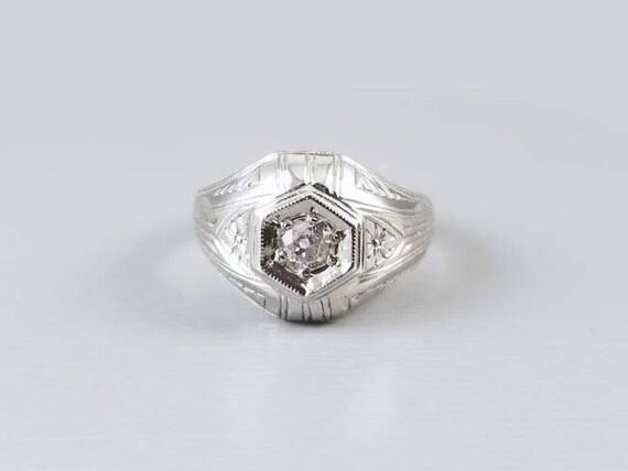 Antique Art Deco 18K white gold .25 carat European cut diamond solitaire ring, dome ring, engagement ring, size 6-3/4, vintage bride, bridal