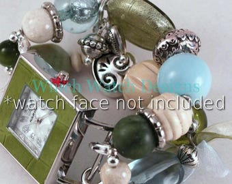 SALE Shabby Chic.. Olive Green, Baby Blue, and Cream Interchangeable Beaded Watch Band