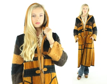 Vintage 70's Long Suede Coat Patchwork Hooded Knit Bell Sleeves Striped Brown Gold 1970s Medium M Hippie Boho Festival  Leather Bug