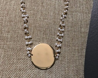 "1.5"" Pendant Pearl Necklace (monogram blanks) gold and silver available"