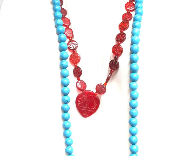 Ethno blue necklace Bohochic necklace Hippie necklaces Red Blue Beaded necklace  Hippy necklace Turquoise color Hippy jewelry Hippie gift