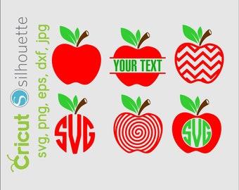 Chevron apple monogram svg, apple svg, teacher svg, teacherlife svg, Chevron Apple Svg, Apple Monogram SVG, Split Apple svg