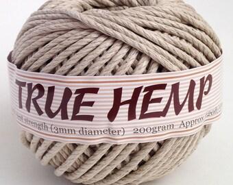 TRUE HEMP big ball - NATURAL (no dye) 3mm /100lb - 120feet/ 37m - 200gram