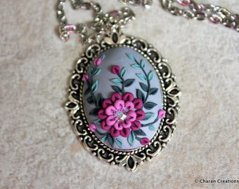 Lovely Polymer Clay Applique Statement Pendant Necklace in Purple and Gray