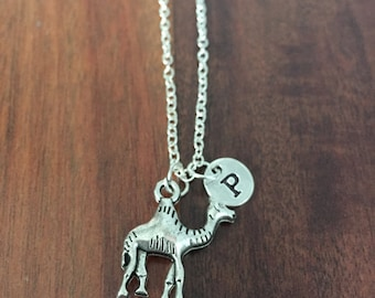 Camel initial necklace, Camel jewelry, zoo animal jewelry, Camel desert necklace, Africa necklace, silver Camel necklace