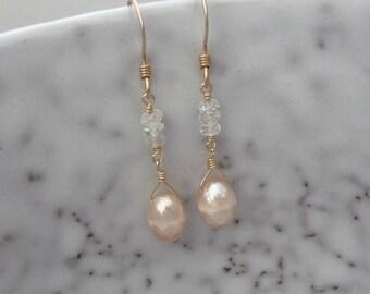 Pearl and Gemstone Drop Earrings, Freshwater pearl earrings, Champagne color faceted pearls, Pearl dangle earrings