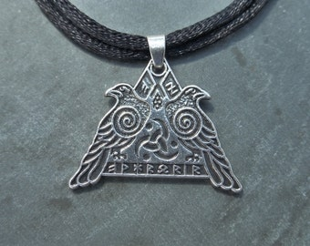 Odins Rune Double Raven Valknut Pendant With Adjustable Double Strand Necklace - Viking - Norse - Runic - Triangle - Magic - Mens - Womens