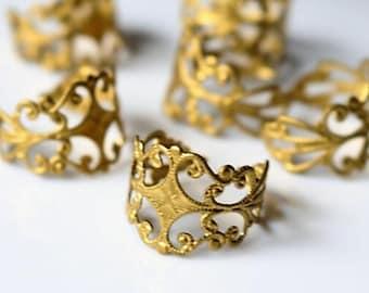 12 pcs of brass filigree ring adjustalbe-raw brass