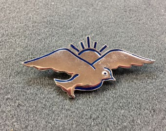 Unusual Sterling Silver and Blue Enameled Bird Brooch/pendant.  Free shipping .