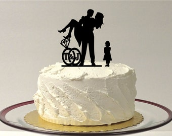 MADE In USA, Girl Child + Bride + Groom Personalized Wedding Cake Topper With Your Initials in a Wedding Ring Design Silhouette Cake Topper