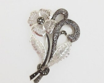 Filagree Flower Brooch, Marcasite and Sterling Silver, Vintage Gift for Her