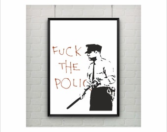 Police by Banksy Print / Graffiti Art / US Letter-A4 up to A0 size / Street Art / Wall Art / Provocative Humor / Contemporary Decor