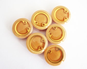 Golden yellow and salmon buttons, Unused shank buttons, 18 mm or 23 mm