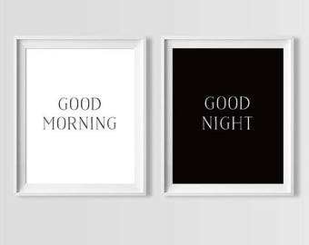Bedroom Art, Bedroom Wall Art, Good Morning Good Night, Printable Art, Black and White Print, Kids Room Decor, Bedroom Decor, Nursery Prints