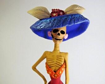 "Beautiful CATRINA handmade clay figurine day of the dead mexican folk art 10"""