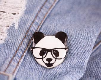 Panda pin Hipster panda brooch Panda jewelry Animal pin Animal jewelry Panda lover gift Hipster animals jewelry Animals lover  Panda gift