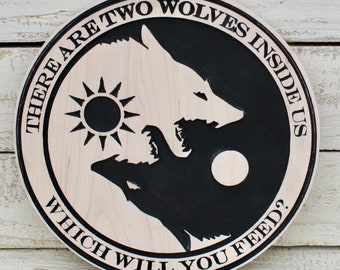 Wolf Art, Wolves Art, Tale of Two Wolves Art, Native American Legend, Ying Yang, Black and White Wolves Carved Wood Plaque