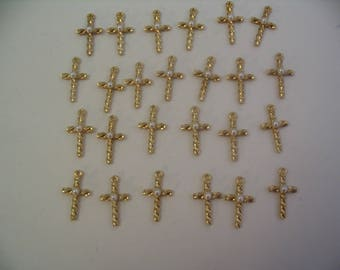 20 Vintage Cross Charms with Pearl for Jewelry or Craft Supplies