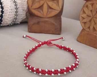Bollywood style red macramé ankle bracelet