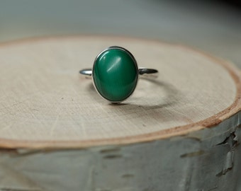 Malachite Sterling Silver ring, .925 sterling silver, Size 7