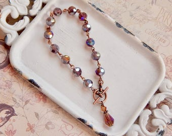 Arlena - purple crystal toggle bracelet - purple bracelet - charm bracelet - antique copper bracelet