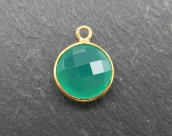 Green Onyx Gold Vermeil Round Pendant 14mm